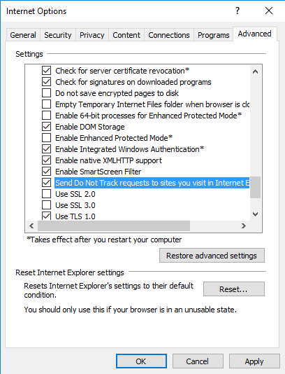 How to Enable Do Not Track in Microsoft Edge & IE 11