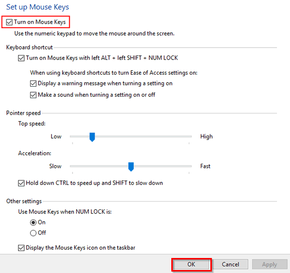 How to Use Keyboard as Mouse in Windows 10, 8, 7